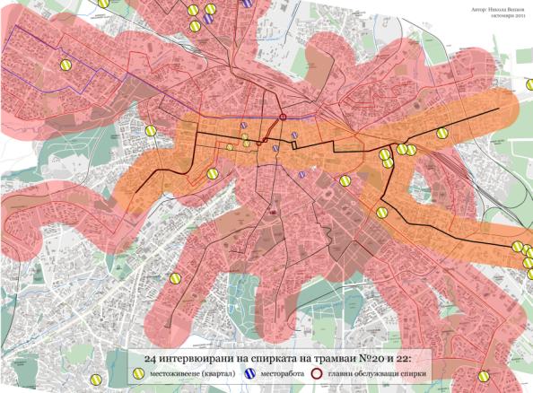 Покритие на градския транспорт, преминаващ през спирките в двата края на пазара, 2011 г. (не вкл. метрото).